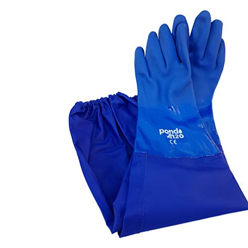 Pond H2o Heavy Duty Full Long Arm Re-usable Waterproof Rubber Gloves Shoulder Length, Yard & Water Garden Pond Cleaning Gloves, Keeps Arm and Hand Dry, 28 Inch Long, Latex free gloves