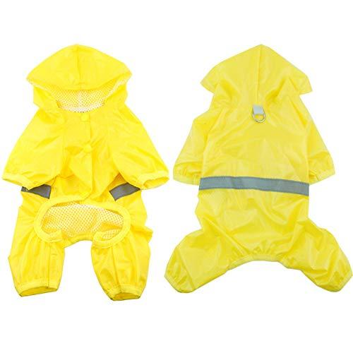 Aiohdg Pet Dog Wasserdichter Regenmantel Jumpsuit Reflektierender Regenmantel Atmungsaktiver Netzhund Outdoor-Kleiderjacke für kleine Hunde Haustierbedarf, gelb, XL