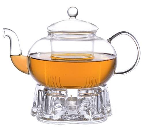 Aricola Teeset Melina 1,3 Liter. Glas-Teekanne 1,3 Liter mit Glassieb und Glasstövchen.