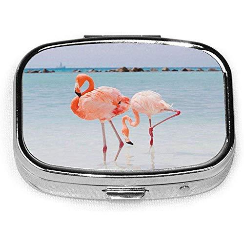 Portapillole quadrato rosa The Town Amanda Losier Flamingo Beach Aruba 2 scomparti Custodia per farmaci da viaggio portatile