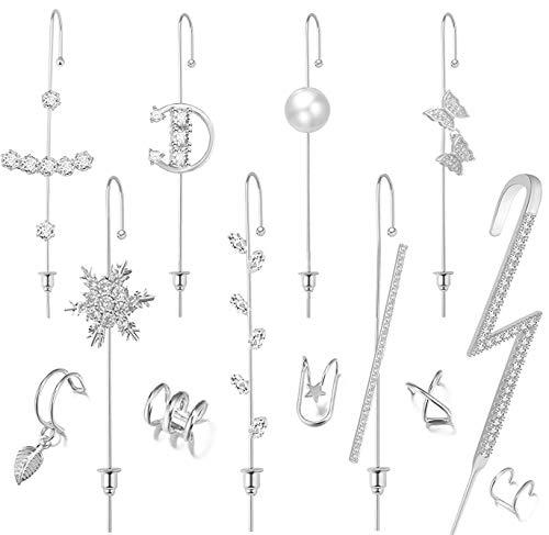 13 Pcs Ear Wrap Crawler Hook Earrings Sparking Cubic Zirconia Earcuffs Gold Siver Climber Piercing...
