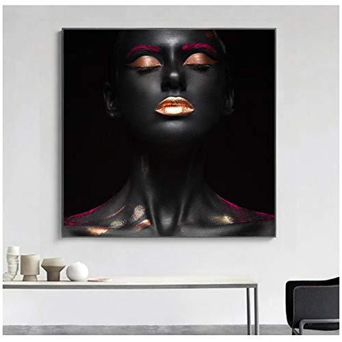 Impresión en lienzo Arte Mujer negra Imágenes de rostro Pintura en lienzo Carteles e impresiones Arte de la pared Sala de estar Cuadro decorativo moderno 40x40cm / 15.7