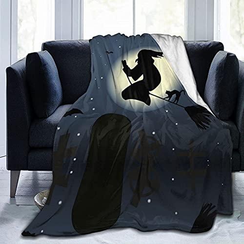 Coperta stampata per Halloween con luna piena, leggera e super morbida, in micropile, adatta per divano letto, soggiorno, divano, 152,4 x 127 cm