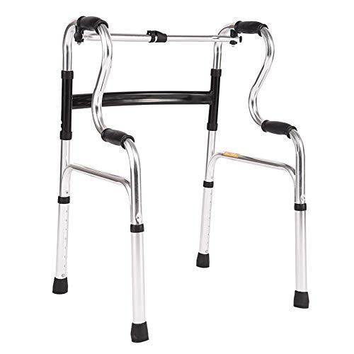 Lianganan Walker personas mayores de cuatro patas de caña doble curvatura Walker ancianos andador de aluminio Booster Walker antideslizante bastón con el Hospital