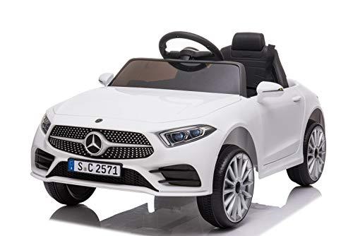 havalime Kinder Elektroauto Mercedes CLS350 - Lizenziert, 2X 35Watt Motor, Ledersitz, Kinderauto, Kinderfahrzeug, Fernsteuerung, MP3 (Weiß)