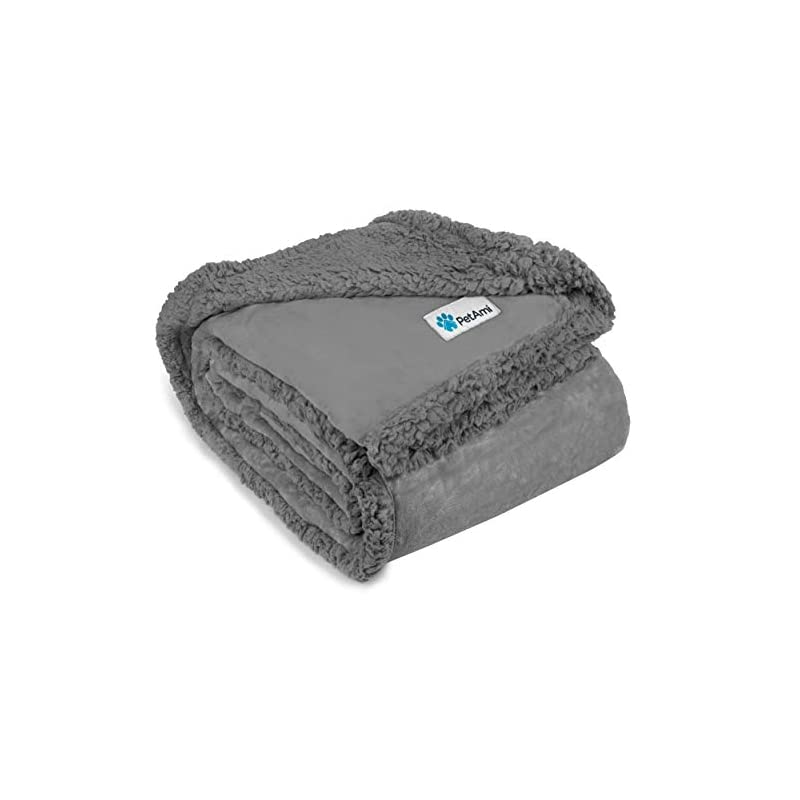 dog supplies online petami waterproof dog blanket for bed, couch, sofa   waterproof dog bed cover for large dogs puppies   grey sherpa fleece pet blanket furniture protector   reversible microfiber   80 x 55 (light grey)