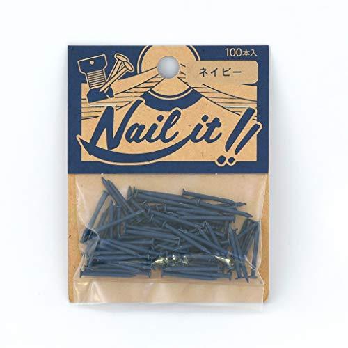 若井産業(Wakaisangyou) Nail it!!(ネイルイット)ストリングアート 釘 袋入 ネイビー 釘のサイズ 長さ:19mm 太さ:#17(約Φ1.47mm) 100本 NF10022