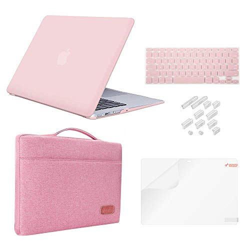 MacBook Air 11 Inch Case Bundle 5 in 1,iCasso Ultra Slim Plastic Hard Cover with Canvas Sleeve,Screen Protector,Keyboard Cover & Dust Plug for MacBook Air 11 Inch Model A1370/A1465 - Rose Quartz