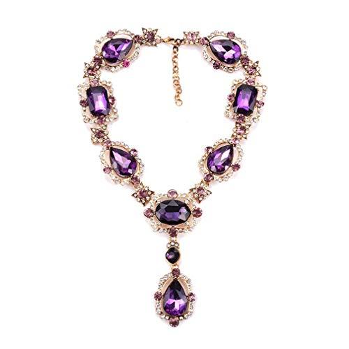 YAZILIND Damen Elegant Exquisit Charm Glas Kristall Unendlichkeit Y-Form Halskette Dangle Bib Chunky Statement Halskette Lila