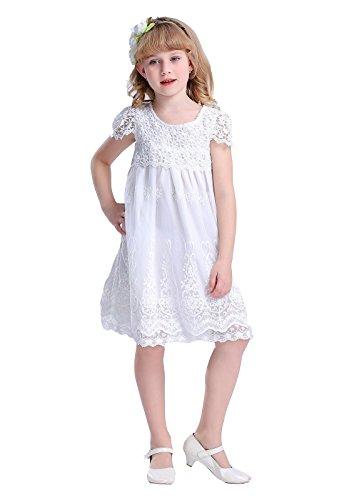 Bow Dream Bow Dream Spitze Mädchenkleid aus Vintage aus weiß 5 Jahre