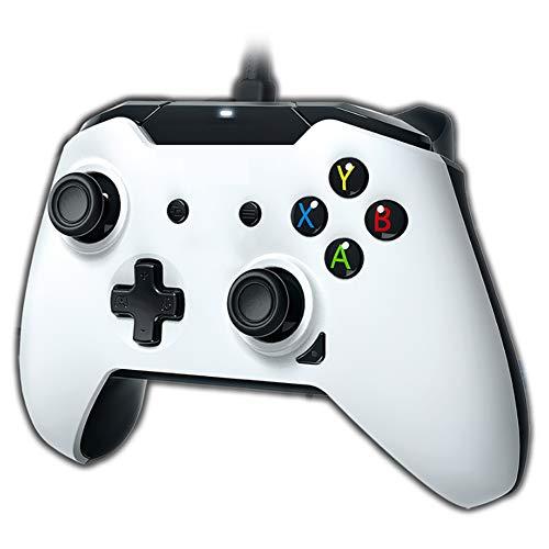 SZKQN Gamepad con Cable para Xbox One, Gamepad Host de computadora con deslumbramiento RGB Transparente Transparente, se Puede conectar a Auriculares de 3.5 Canales estéreo-White