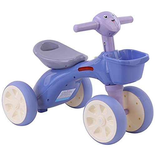 Ckssyao Triciclos y Juguetes para Montar Al Aire Libre, Sin Pedales, Bicicleta de 4 Rondas para Niños de 1 a 6 Años, Bicicleta de Equilibrio con Función de Luz y Música,Púrpura,61 * 38 * 46cm