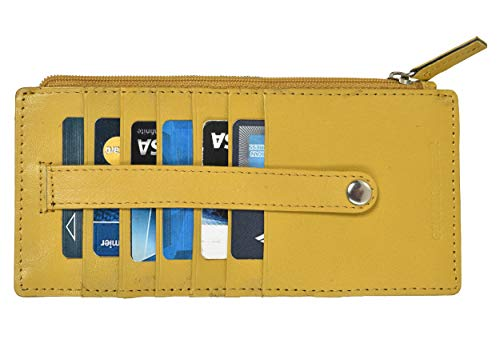 Leatherboss Genuine Leather All in One Card Case Holder Slim Wallet With a Card Protection Strap, Mustard