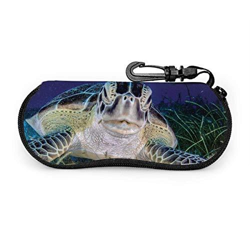 Meeresschildkröte Seegras Sonnenbrille mit Verschlussschnalle Soft Bag Ultraleichtes Tauchgewebe Reißverschluss Brillenetui