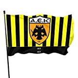 TUCBOA Poliéster Bandera,Bandera AEK De Atenas Bandera De Porche Resistente A La Decoloración Y Colores Vivos