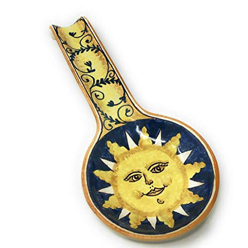 CERAMICHE D'ARTE PARRINI - Italian Ceramic Art Spoon Rest Pottery Holder Hand Painted Decorated Sun Made in ITALY Tuscan