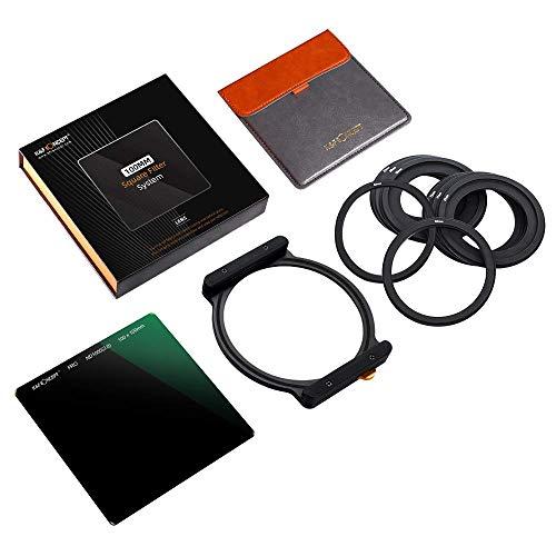 K&F Concept ND1000 - Juego FiltrosND Cuadrados de Cristal optico ND1000 100x100mm, 10 Pasos, Incluye 1 Caja/ 1 Portafiltros/ 8 Kit Anillo de Filtro y Funda de Cuero