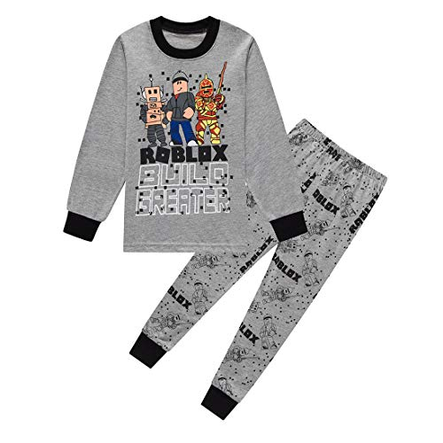 Roblox Youtube Game Niños Chicos Manga Larga Navidad Pijamas Dos Piezas Pjs 6-13 Años (Gris, 8-9 años)