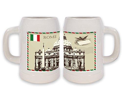 Boccale Birra Città Roma Italia Stampato