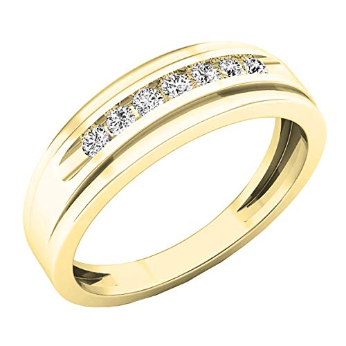 Dazzlingrock Collection 0.25 Carat (ctw) 14K Round White Diamond Mens Wedding Band Ring 1/4 CT, Yellow Gold, Size 10.5