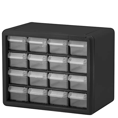 Akro-Mils 16 Drawer 10116, Plastic Parts Storage Hardware and Craft Cabinet, (10-1/2-Inch W x 8-1/2-Inch D x 6-1/2-Inch H), Black (1-Pack)
