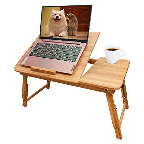 Soporte para portátil ajustable, escritorio plegable de bambú con cajones de almacenamiento, altura y ángulo ajustable, se puede utilizar para mesa de desayuno y mesa de dibujo