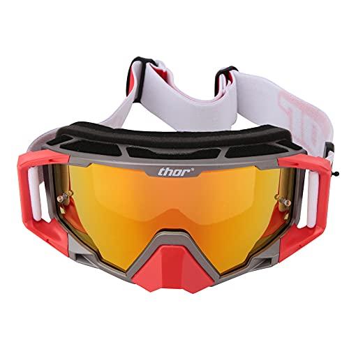 YINAIER Gafas de Ciclismo, Gafas de Ciclismo, Gafas Ajustables reemplazables Gafas de Parabrisas de Moto Herramienta de Deportes al Aire Libre (Gris Rojo)