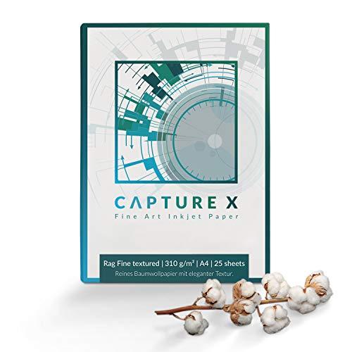 CAPTURE X Rag Fine textured, 310g/m², A4, 25 Blatt Box - edle Struktur - 100% Baumwolle - Fine Art Paper