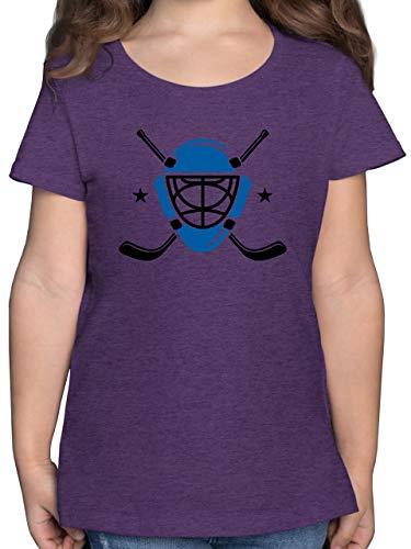 Sport Kind - Eishockeyschläger Helm - 128 (7/8 Jahre) - Lila Meliert - Rundhals - F131K - Mädchen Kinder T-Shirt