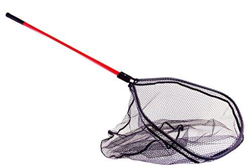 Kinetic Bootskescher groß, mit gummierten Netz, Länge 150cm, Netz 60x65x70cm, Verstellbar, Roter Stiel