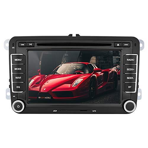 Aumume 7 Zoll Autoradio für Golf VW Skoda Seat mit Navi Bluetooth Unterstützung GPS Navigation Radio Parkkamera Lenkradsteuerung (mit 8 GB Karte)