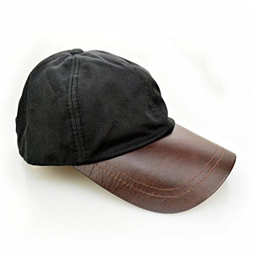 Romneys Wachscap | aus 100% gewachster Baumwolle, Wind und wasserdicht | Farbe: Schwarz | One Size