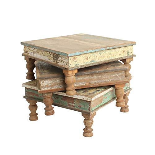 STUFF Loft Beistelltisch Bajot Blumentisch Deko-Tisch aus recyceltem Altholz Shabby-Vintage Color in verschiedenen Größen