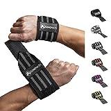 SINOVATI® Wrist Wraps Handgelenk Bandagen Handgelenkbandage für Fitness, Crossfit, Powerlifting, Bodybuilding, Kraftsport & Gymnastik Frauen und Männer (Stark, Schwarz/Grau)