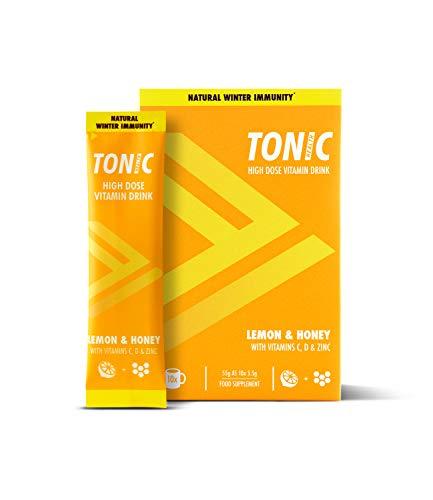 Tonic Health High Dose Immunity Vitamin Drink x50 (Vitamin C 1500mg, VIT D & Zinc) - Lemon & Honey - 5 Packs (10 x 5.5g sachets per Pack) | 60p per Serve