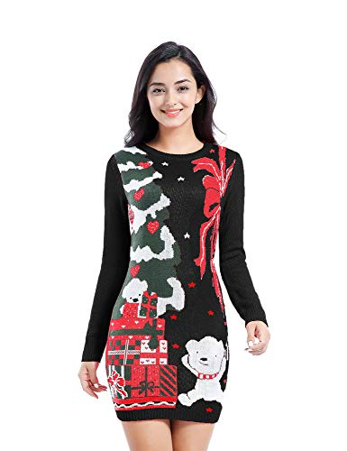 Christmas Sweater, V28 Women Ugly Holiday Knit Cute Pullover Xmas Sweater Dress