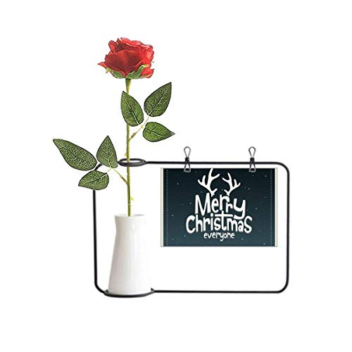 Beauty Gift Merry Christmas Reindeer Cartoon Pattern Artificial Rose Flower Hanging Vases Decoration Bottle
