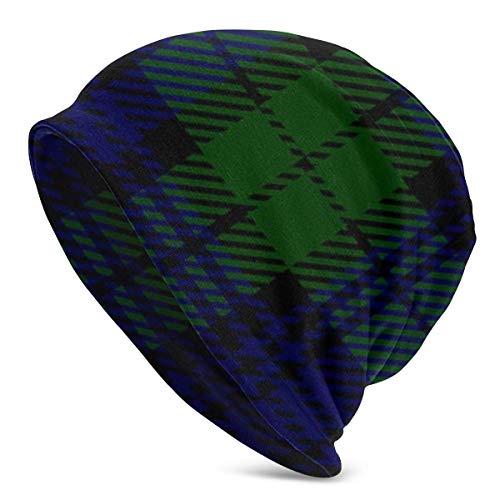 Kaswtrb Black Watch Tartan Plaid Knit Beanie Hat Cap Gorras de Invierno Sombreros Gorra de Calavera Lisa con puños para Hombres y Mujeres