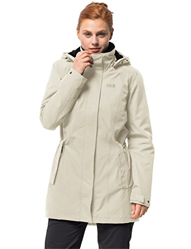 Jack Wolfskin Damen Madison Avenue Coat Mantel, Weiß (White sand), M
