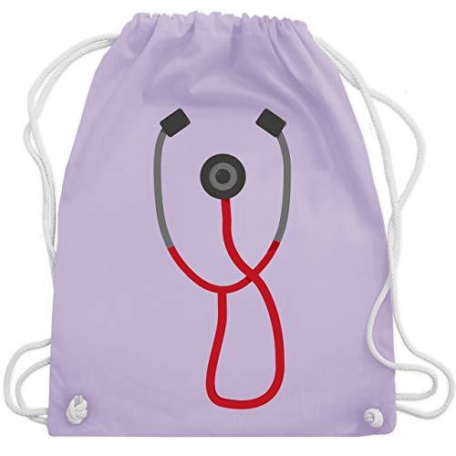 Shirtracer Karneval & Fasching - Arzt Stethoskop Kostüm - Unisize - Pastell Lila - Stethoskop - WM110 - Turnbeutel und Stoffbeutel aus Baumwolle