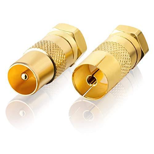 SEBSON SAT Antenne Adapter Set - 1x F-Stecker auf Koax Stecker (IEC), 1x F-Stecker auf Koax Buchse (IEC) - Antennenkabel Adapter