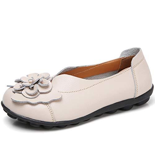 Gaatpot Damen Blumen Mokassins Atmungsaktiv Leder Bootsschuhe-Loafers, Beige, Gr.- 41.5 EU/ Herstellergröße- 43