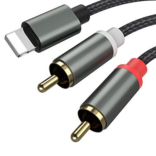 Froggen Cinch Kabel Cinch auf Klinke Kabel Lightning Klinke Audio Kabel HiFi Aux Chinch Kabel Adapter für Tablets, Heimkino, Smartphones, Stereoanlage, Lautsprecher, TV usw. (1.1M)