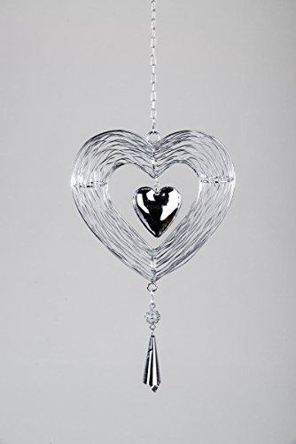 Formano Herz zum Hängen, Silber, Metall, Deko Herzhänger, Deko Fensterdeko Dekoherz