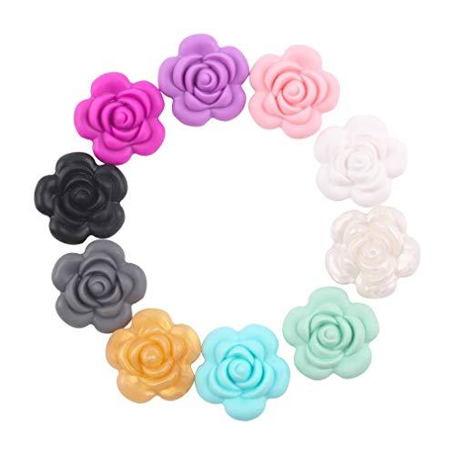 Mamimami Home 10PC Téton de silicone 3D Dentition Rose Fleur Accessoires pour bébés Bricolage Artisanat Perles de silicone pour bébés 3.8CM