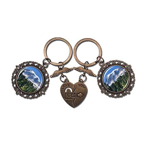 Hqiyaols Keychain Amerika USA Mount Rainier National Park Ashford Paar Schlüsselbund Valentinstag Geschenk Schlüsselanhänger Souvenir Kristall Metall 2 teile/satz