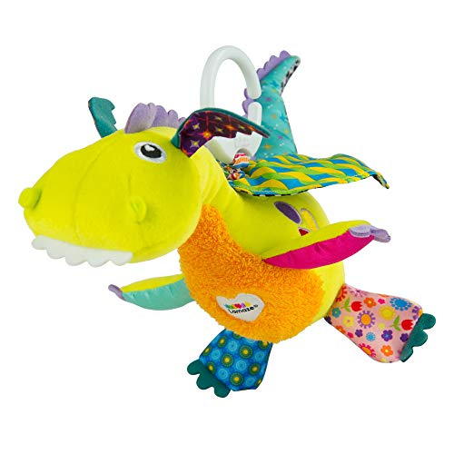 LAMAZE Flip Flap Dragon, Clip on Pram and Pushchair Newborn Baby Toy, Sensory Toy for Babies Boys and Girls from 0 to 6 Months