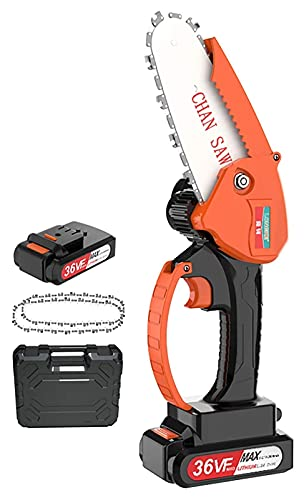 Akku-Kettensäge, 4-Zoll-Kettensägen Handheld-Mini-Gartenschere Kettensäge zum Baumschneiden von Holz, Ladegerät im Lieferumfang enthalten Orange, mit Akku und Box Mini-Kettensäge