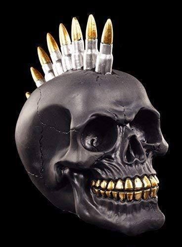Figuren Shop GmbH Gothic Totenkopf mit Patronen Iro - Scull Black Bullet, schwarz, Handbemalt