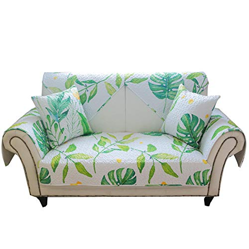 kinfuki Antideslizante sofá Fundas Elástica Protector Acolchado,Cojín de sofá Antideslizante de Cubierta Completa con 2 Fundas de Almohada, Verde 90 * 240 cm